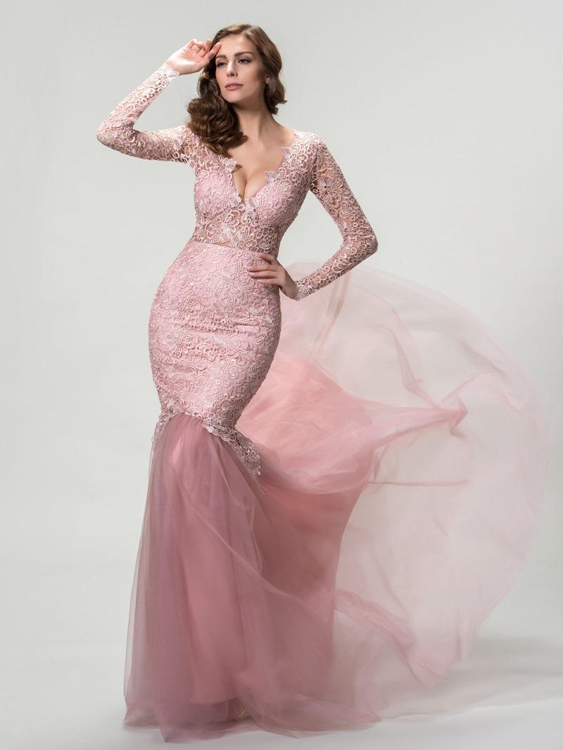 Mermaid Long Sleeves Deep V-Neck Evening Dress
