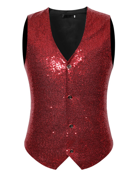 Milanoo Men Casual Waistcoat Sequin V Neck Button Up Suit Gilet