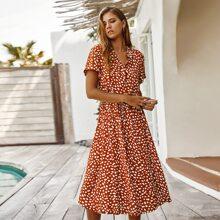 Dalmatian Print Button Front Drawstring Long Dress