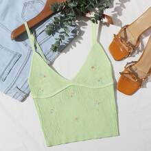 Floral Embroidery Rib-knit Cami Top