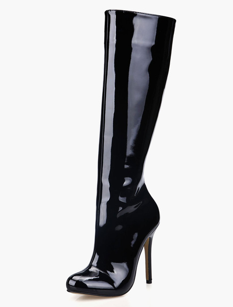 Milanoo Bright Black High Knee boots Women's Patent Leather Round Toe Zip Up heels office Winter Boots