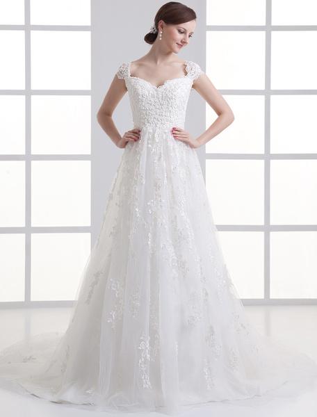 Milanoo Glamorous Ivory Tulle Beading A-line Bride's Wedding Dress