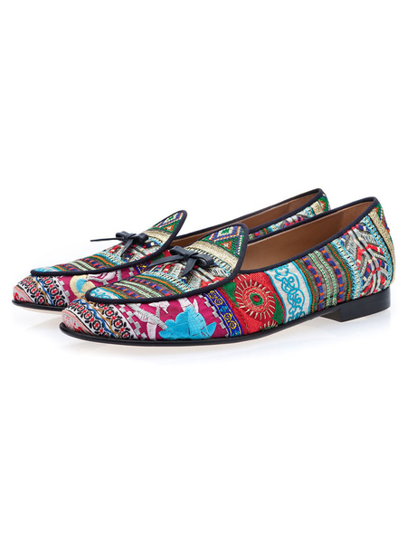 Milanoo Mens Ethnic Embroidered Leather Loafers Prom Shoes with Tassel
