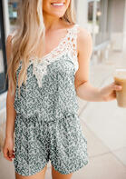 Leopard Lace Splicing V-Neck Romper