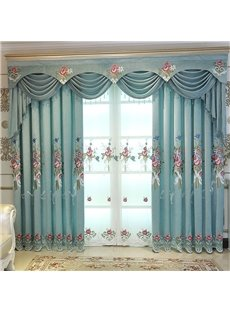 American Country Style Thick Polyester Blackout Embroidered Custom Grommet Curtains for Living Room