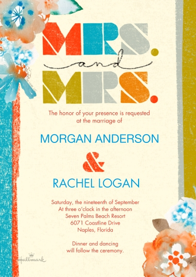 Wedding Invitations 5x7 Cards, Premium Cardstock 120lb with Elegant Corners, Card & Stationery -Colorful Stripes Mrs and Mrs
