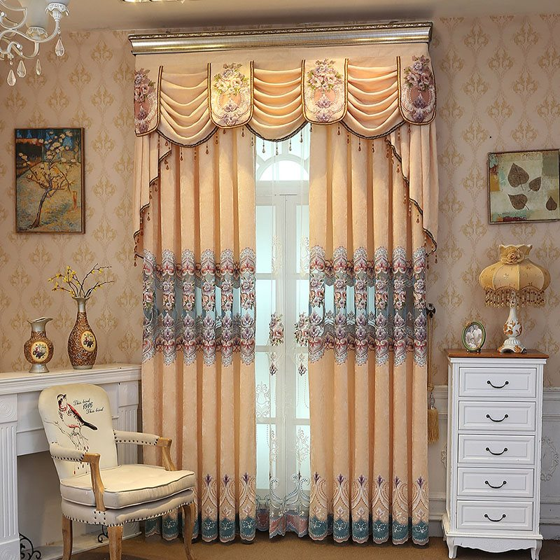 European Elegant Classy Polyester Floral Embroidered Decorative Custom Sheer Curtains for Living Room Bedroom