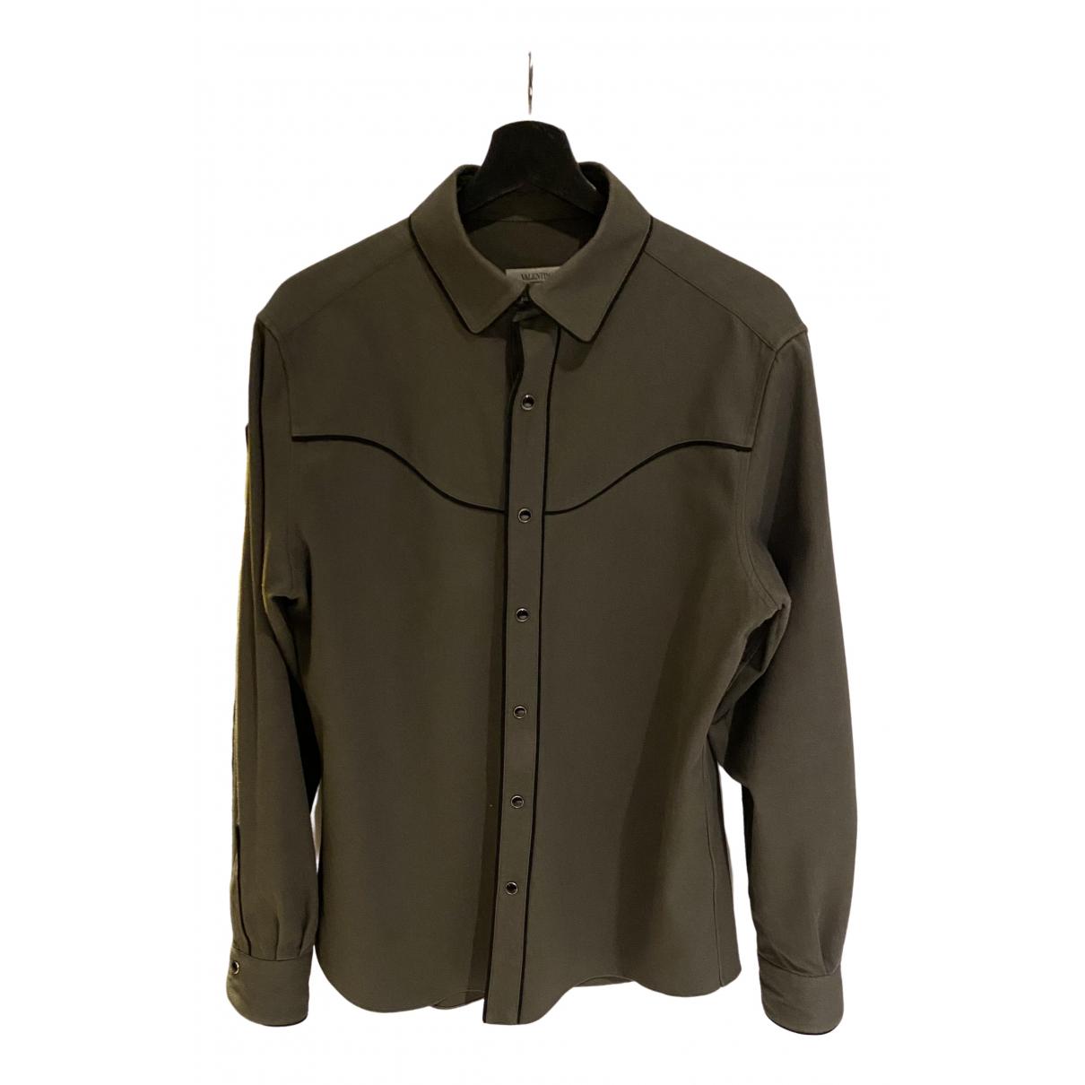Valentino Garavani \N Khaki Cotton Shirts for Men 41 EU (tour de cou / collar)