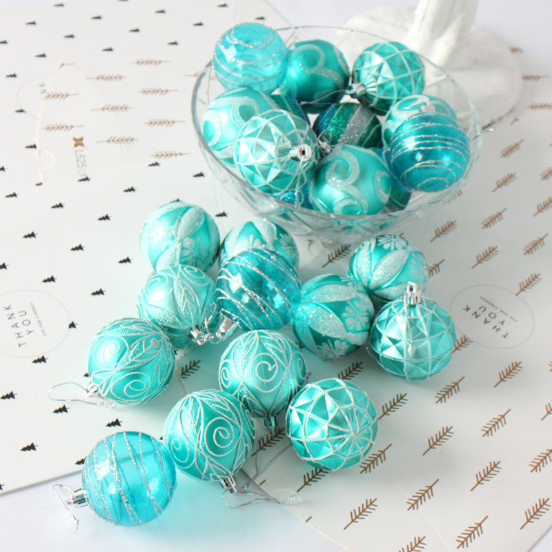 24 Pieces of Painted Shop Window Decoration Christmas Ball