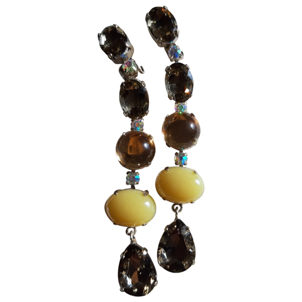 Non Signé / Unsigned \N Brown Crystal Earrings for Women \N