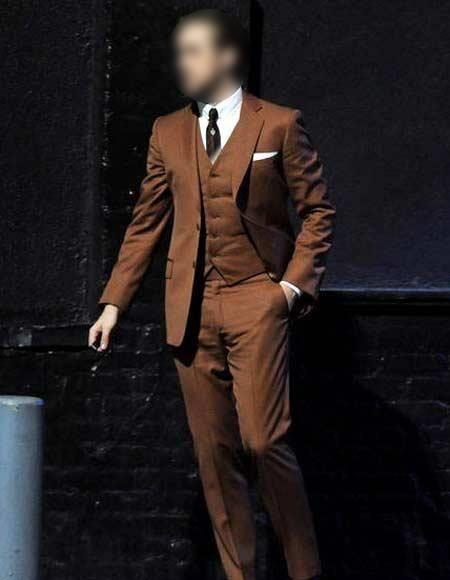 Men's Brown Ryan Gosling La La Land 2 Button Notch Collar Vested Suit