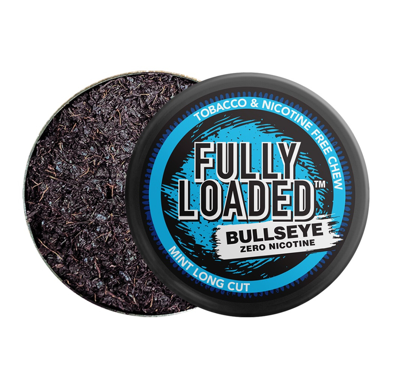 Fully Loaded Chew Tobacco and Nicotine Free Mint Bullseye Long Cut Bold Flavor, Chewing Alternative