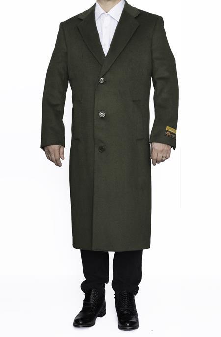 Mens Full Length Wool Dress Top Coat / Overcoat in Olive Green