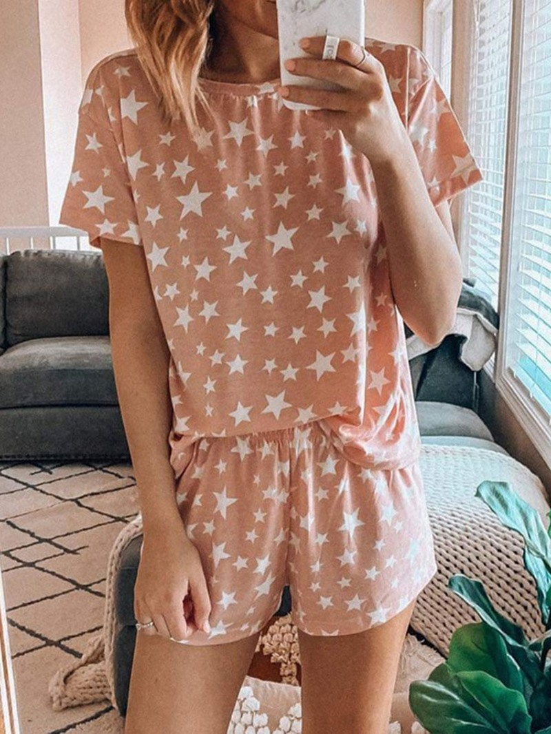 Ericdress Print Polyester Simple Pullover Round Neck Pajama Suit