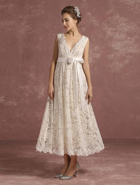 Milanoo Summer Wedding Dresses 2020 Lace V Neck Sleeveless Bridal Gown Ribbon Bow Sash Back Keyhole Tea Length Bridal Dress