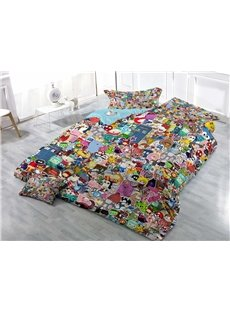 Funny Cartoon Icon Wear-resistant Breathable High Quality 60s Cotton 4-Piece 3D Bedding Sets