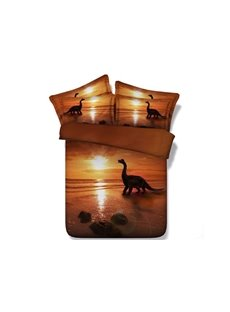 Dinosaur at Sunset Printed Cotton 4-Piece 3D Bedding Sets/Duvet Covers