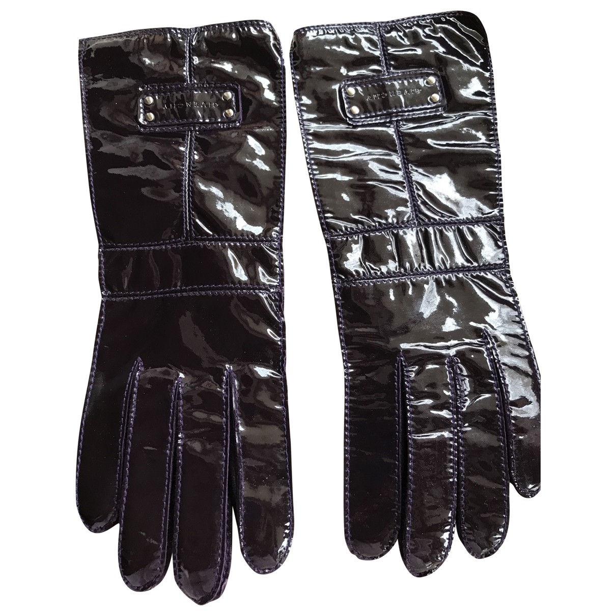 Givenchy \N Purple Patent leather Gloves for Women 8 Inches