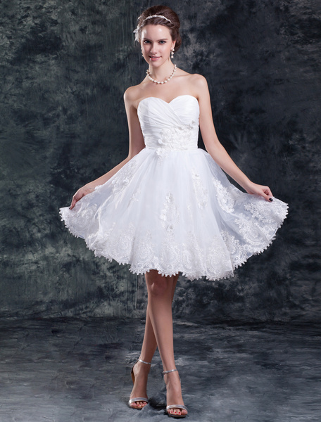 Milanoo Knee-Length White A-line Sweetheart Neck Ruched Organza Wedding Dress
