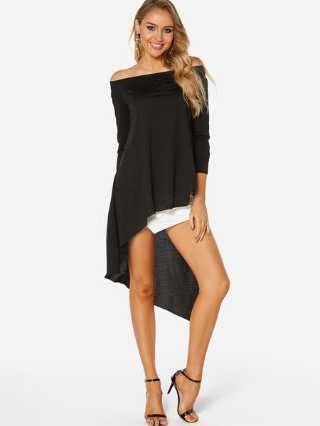 Yoins Black Off The Shoulder Long Sleeves Irregular Hem T-shirt