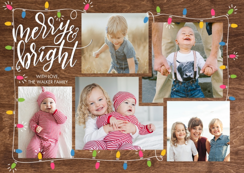 Christmas Photo Cards 5x7 Cards, Premium Cardstock 120lb with Elegant Corners, Card & Stationery -Christmas Merry Lights by Tumbalina