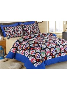 Shining Colorful Skull Print 4-Piece Polyester 3D Duvet Cover Sets