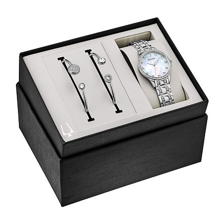 Bulova Crystal Womens Crystal Accent Silver Tone Stainless Steel 2-pc. Watch Boxed Set-96x145, One Size , No Color Family