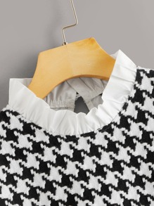 Frilled Neck Mixed Media Houndstooth Blouse