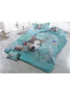 Husky Playing in the Water Wear-resistant Breathable High Quality 60s Cotton 4-Piece 3D Bedding Sets