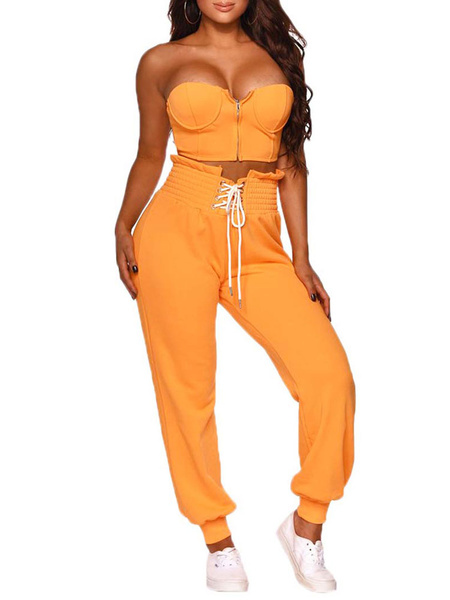 Milanoo Two Piece Sets Orange Strapless Sleeveless Crop Top With Long Pants For Women