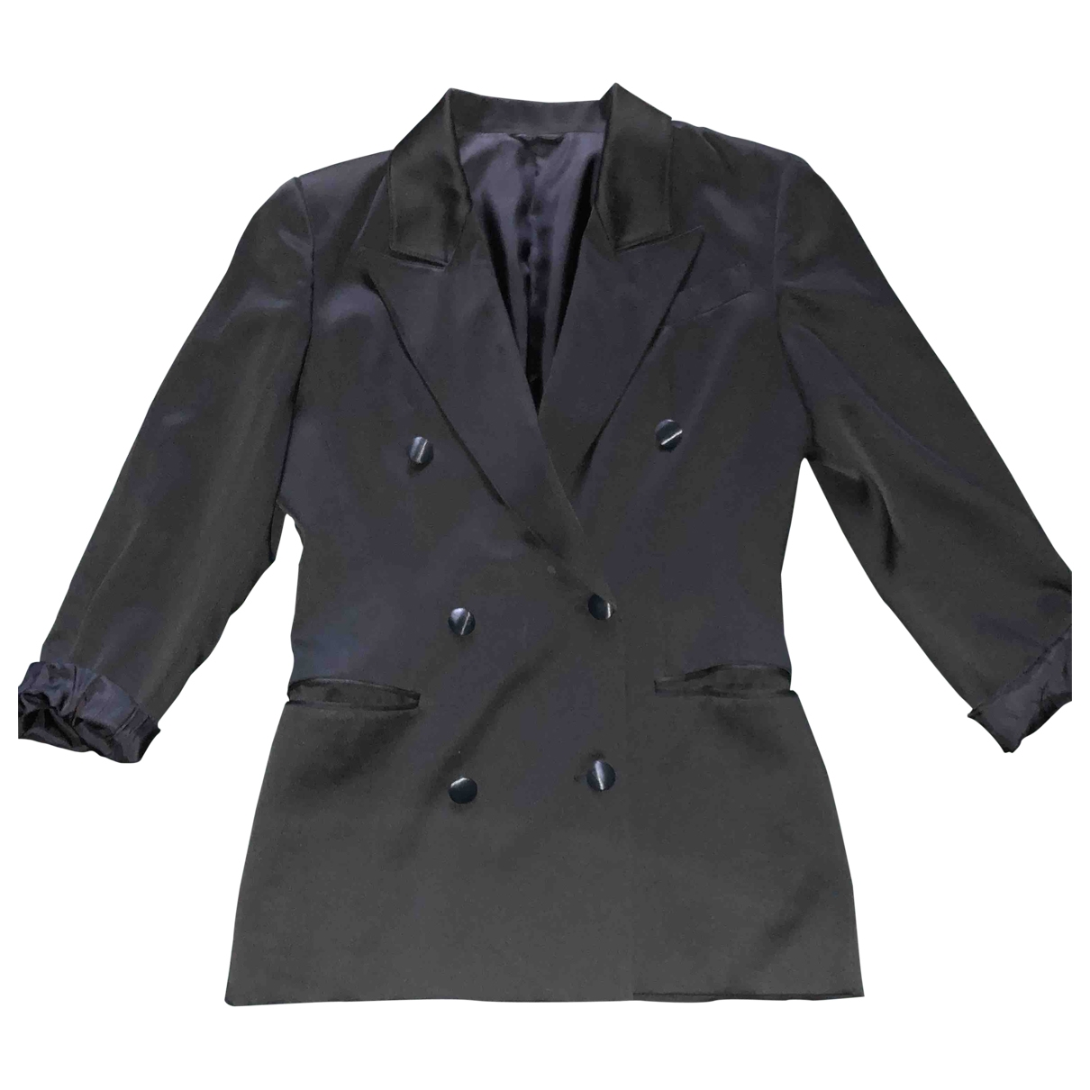 Non Signé / Unsigned Epaulettes Black Silk jacket for Women 42 IT