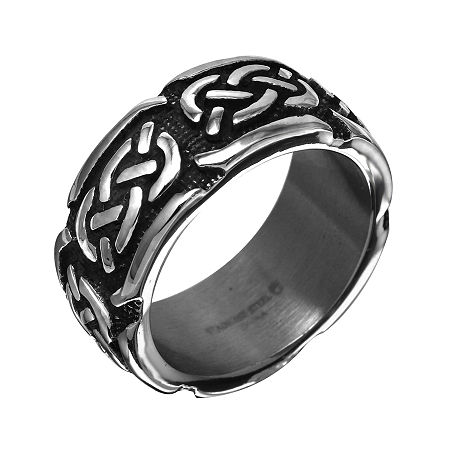 Mens 10mm Gray Stainless Steel Celtic Wedding Band, 9 , No Color Family