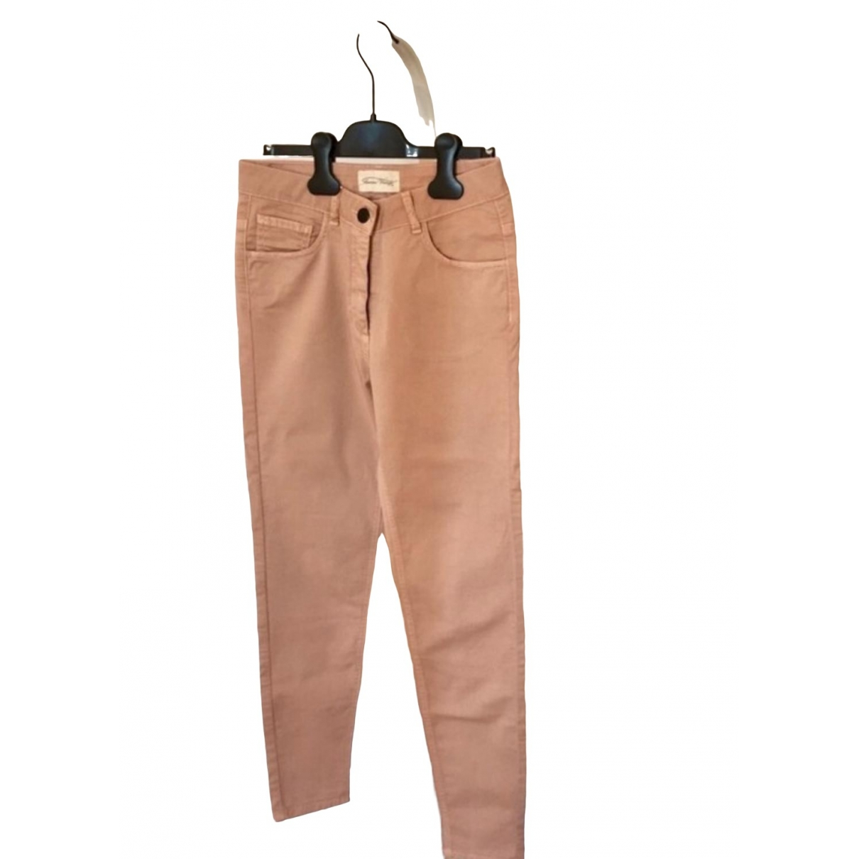 American Vintage \N Pink Cotton Trousers for Women 34 FR