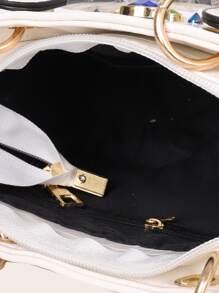 Gemstone Decor Croc Embossed Satchel Bag