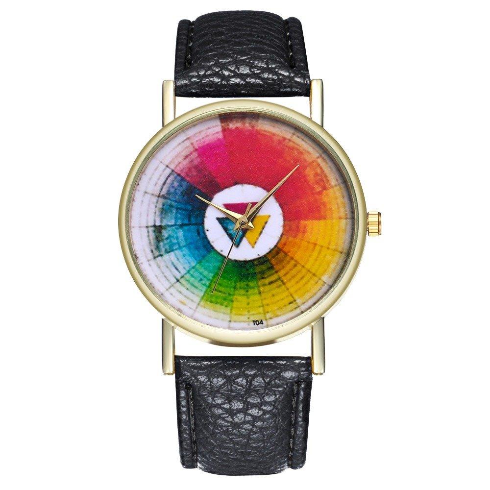 Trendy Round Swatch Watch Classical Leather Quartz Watch Waterproof Women Watch