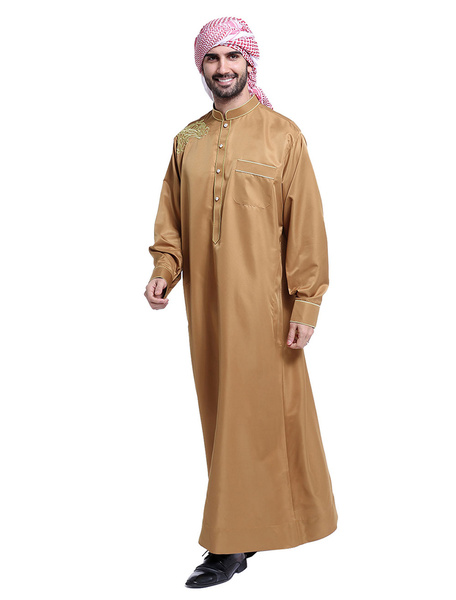 Milanoo Arabian Men Robe Stand Collar Long Sleeve Embroidery Abaya