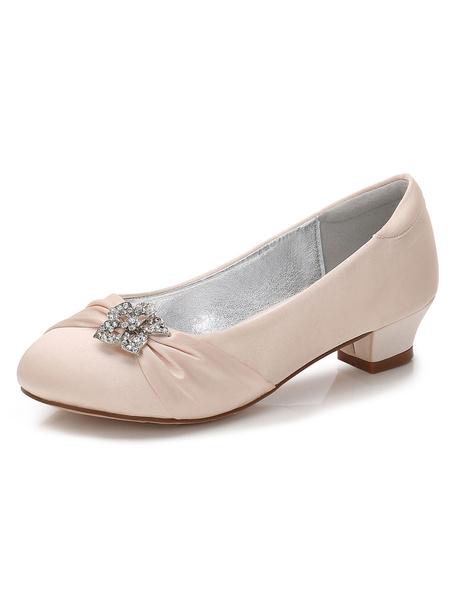 Milanoo Flower Girls Shoes Purple Rhinestones Chunky Heel Pumps