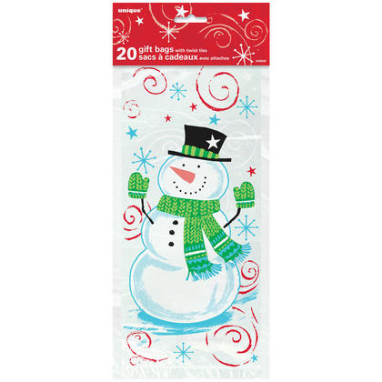 Happy Snowman Swirl Holiday Cellophane Bags for Home Party Decor, 11