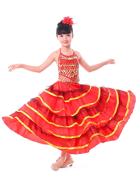 Milanoo Kids Belly Dance Costumes Red Layered Billowing Flamenco Dress Paso Doble Dress Spanish Skirt for Girls Halloween