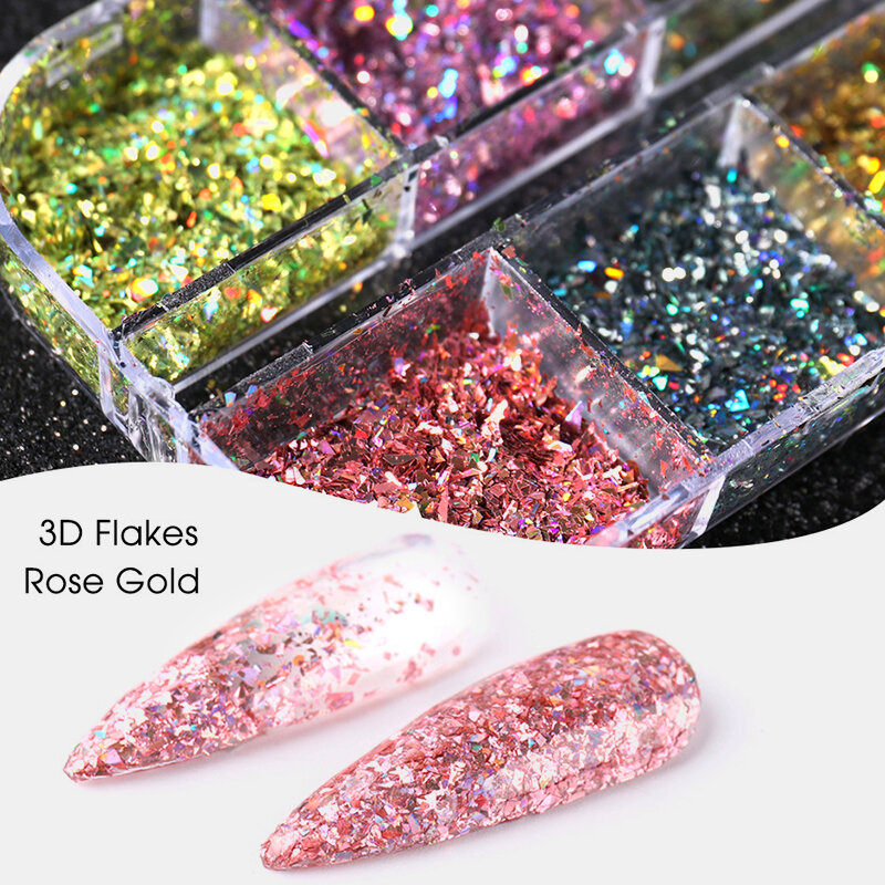 12 Pcs Sequins Glitter Thin Flakes Nail Decorations Sets Sequins Laser Nail Art Decoration