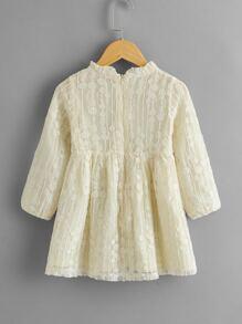 Toddler Girls Frill Neck Lace Smock Dress