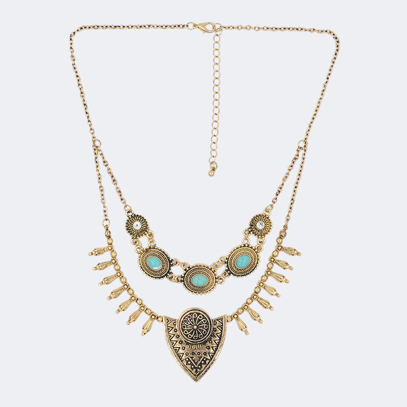 Bohemian Turquoise Tassel Multi-layer Necklace Vintage Geometric Triangle Pendant Sweater Necklace