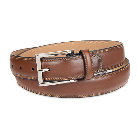 Stafford Men's Dress Belt with Double Stitched Edge, 32 , Beige