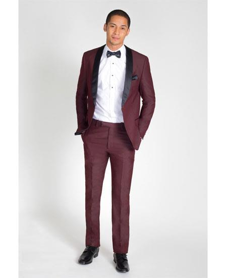 Men's Single Breasted Burgundy Slim Fit Black Shawl Lapel Tuxedo