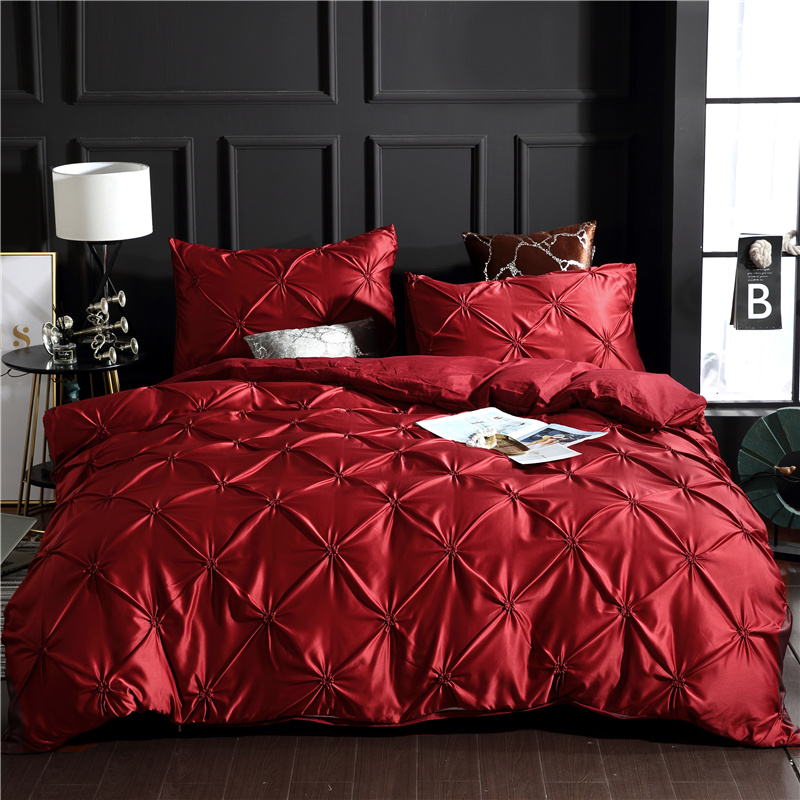 Red Luxury Pinch Pleat Style Polyester 3-Piece Bedding Sets/Duvet Covers