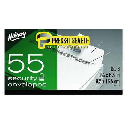 Hilroy@ Press-it Seal-it@ White Envelope - Box 55 - Security, #8, 6-1/2 x 3-5/8