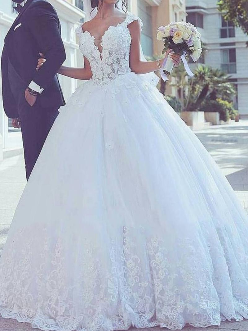 Ericdress Straps Appliques Ball Gown Wedding Dress
