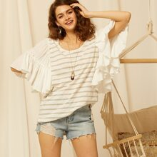 Exaggerated Ruffle Sleeve Striped Top