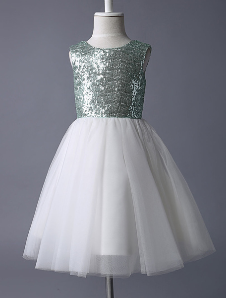 Milanoo Stunning Mint Green Sequined Bodice With Ivory Tulle Skirt Flower Girl Dress