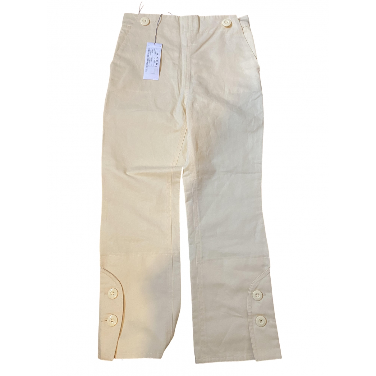 Marni \N Yellow Cotton Trousers for Women 40 IT